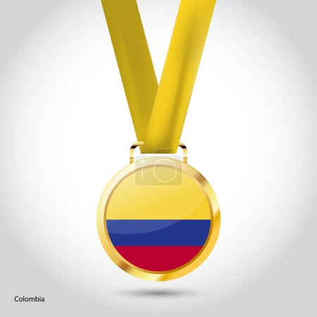 Colombia flag in golden medal