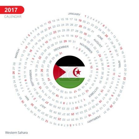 2017 calendar with Western Sahara flag