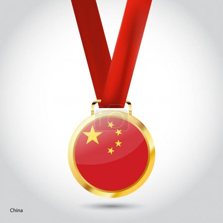 China flag in golden medal