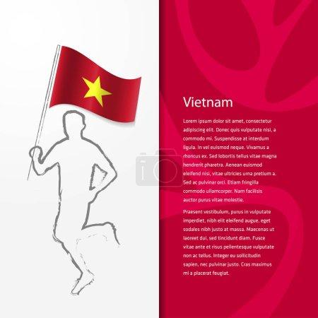 brochure with man holding Vietnam flag