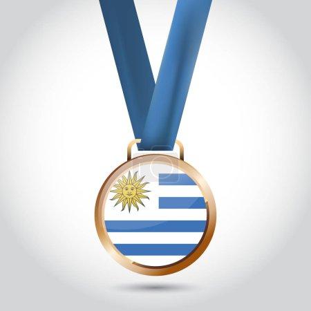 Uruguay flag in bronze medal