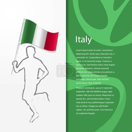 Brochure with man holding Italy flag