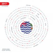 2017 calendar in form of circle with British Indian Ocean Territory flag Vector illustration