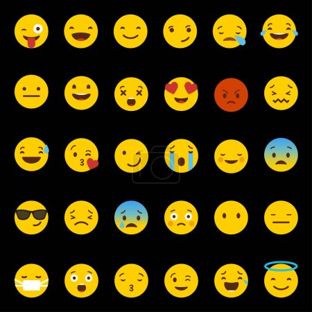 Illustration for Flat vector emotion icons with smileys, cartoon faces - Royalty Free Image