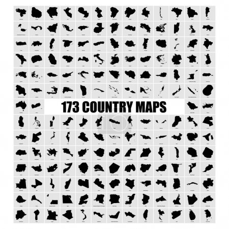 set of different countries black maps