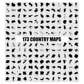 Set of different countries black maps over grey background vector illustration