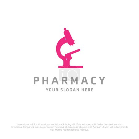 Illustration for Pharmacy banner with laboratory microscope icon. vector illustration - Royalty Free Image