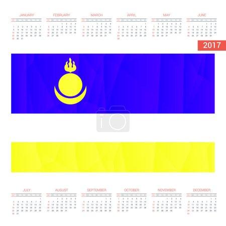 2017 calendar with Buryatia  flag