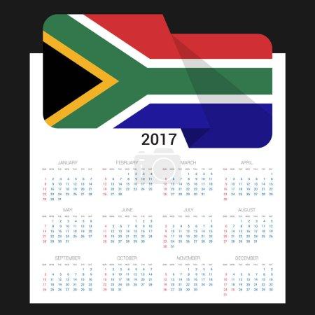 2017 calendar with South Africa  flag
