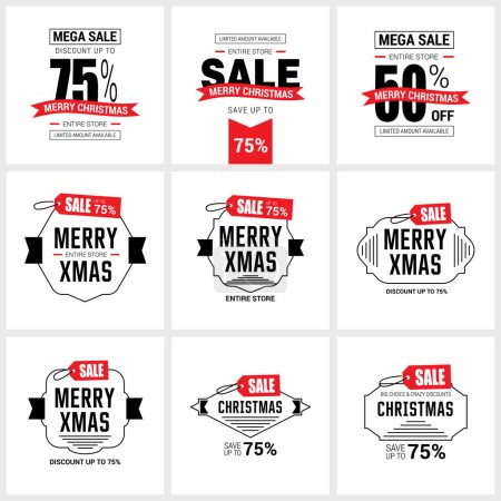 Illustration for Set of Christmas sale banners, vector illustration - Royalty Free Image