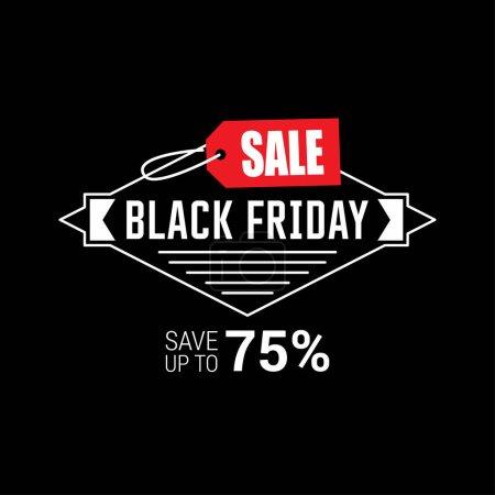 Illustration for Banner of black friday sale, vector illustration - Royalty Free Image