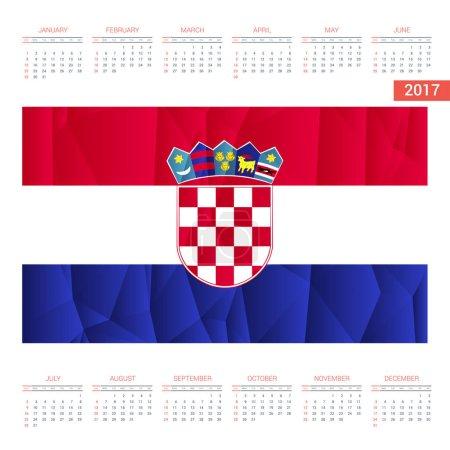 2017 calendar with Croatia   flag