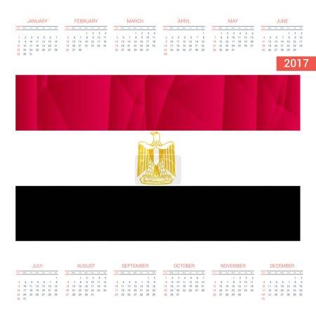 2017 calendar with Egypt   flag