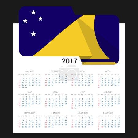 2017 calendar with Tokelau  flag