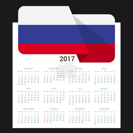 2017 calendar with Russia  flag