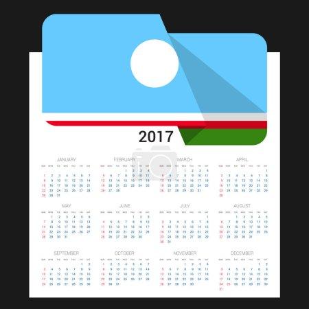 2017 calendar with  Sakha Republic flag