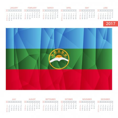 2017 calendar with Karachay Chekessia  flag