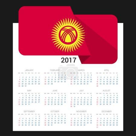 2017 calendar with Kyrgyzstan flag. Vector illustr...