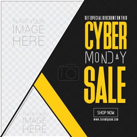 Illustration pour Bannière de vente cyber lundi, illustration vectorielle - image libre de droit