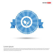Fork with spoon on plate flat icon on red badge isolated on white background vector illustration