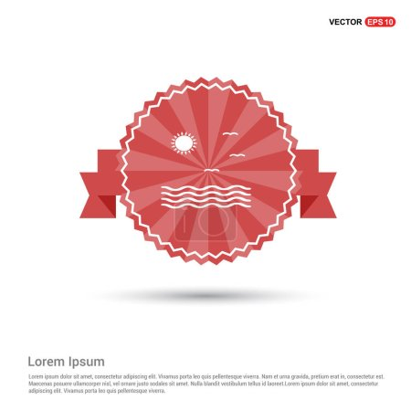 Illustration for Sea waves and sun icon.  vector illustration - Royalty Free Image