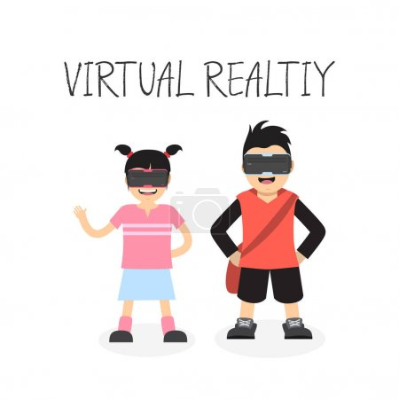 children with virtual reality headset