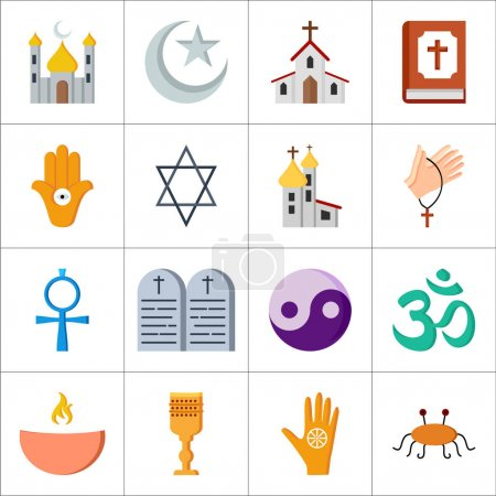 Photo for Set of different religions icons over white background, vector illustration - Royalty Free Image