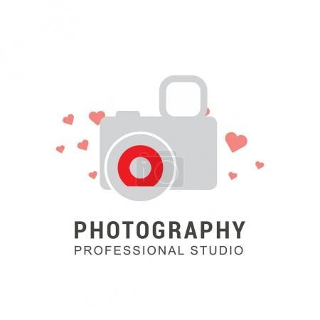 photo camera logo with hearts