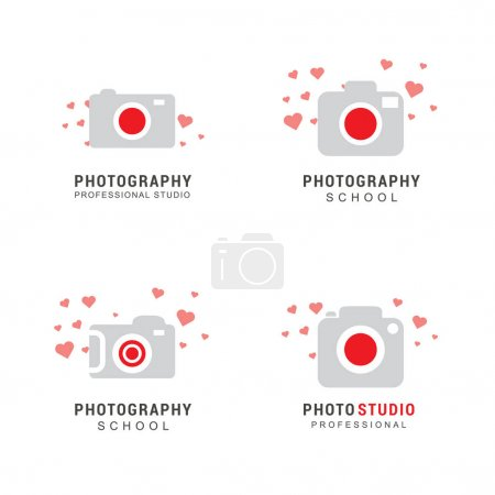 photo cameras logo with hearts