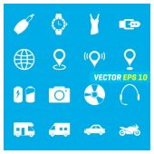 Set of sixteen mix icons on blue background EPS 10