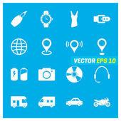 Set of sixteen mix icons
