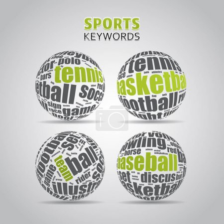 Illustration for Popular sport Terms in Ball shapes - Royalty Free Image