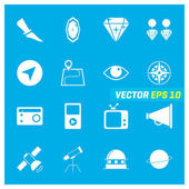 Set of sixteen mix icons on blue background EPS 10