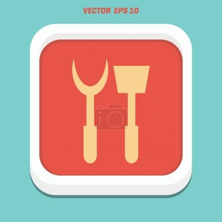 gardening fork and shovel flat icon