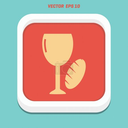 bread and wine for Communion flat icon