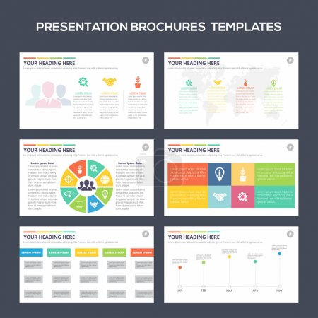 Illustration for Set of color infographic elements for presentation templates. Leaflet, Annual report, brochure, layout, flyer layout design - Royalty Free Image