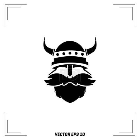 viking head in helmet icon
