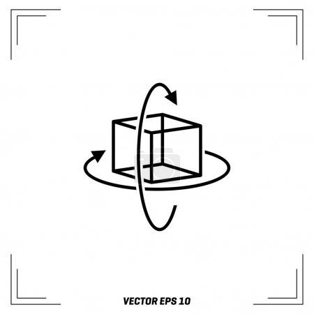 cube with arrows flat icon