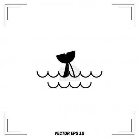 Illustration for Whale in waves, vector, illustration - Royalty Free Image