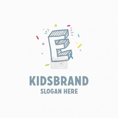 kids logo template with capital letter E