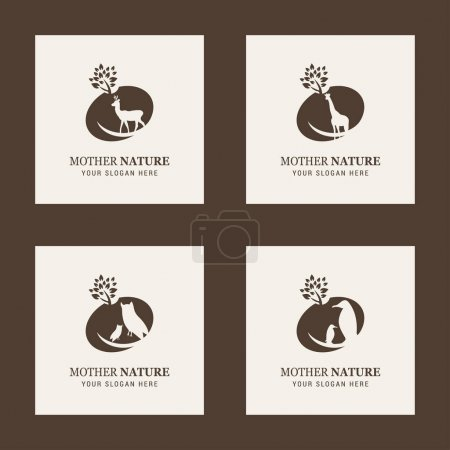 Animals logos with lettering Mother Nature