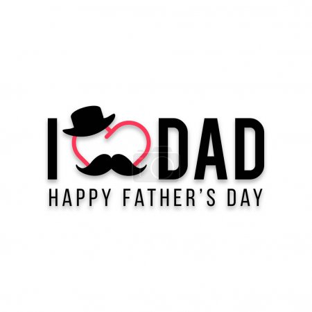 Illustration for Flyer design for Fathers Day with black hat and mustache with red heart - Royalty Free Image