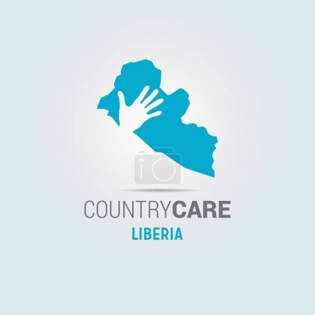 Illustration pour Carte bleue du Libéria avec impression de la main, conception des soins à la campagne - image libre de droit