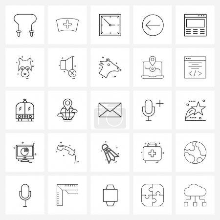 Set of 25 Universal Line Icons of making, designin...