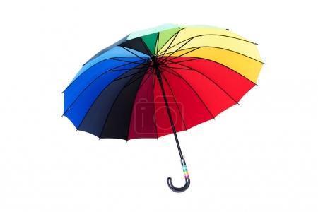 Rainbow umbrella isolated on white background.