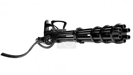 Photo pour 3D illustration Minigun sur fond blanc - image libre de droit