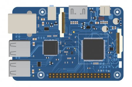 Illustration for DIY electronic board with a microprocessor, interfaces, LEDs, connectors, and other electronic components, to form the basic of smart home, robotic, and many other projects related to electronics - Royalty Free Image