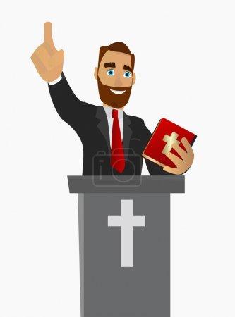 A Christian priest gave a sermon in a church in wo...