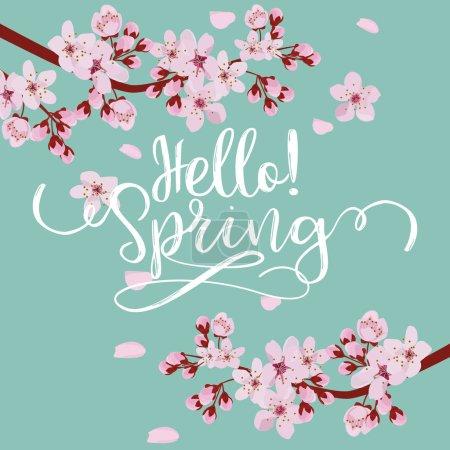 Illustration for Spring season background, pink cherry blossom on blue blackground.  vector illustration - Royalty Free Image