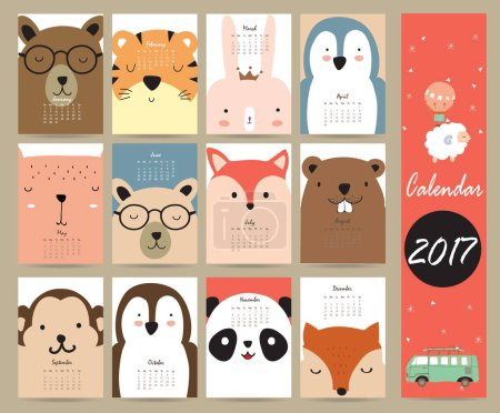 Colorful cute monthly calendar 2017 with bear,penguin,monkey and